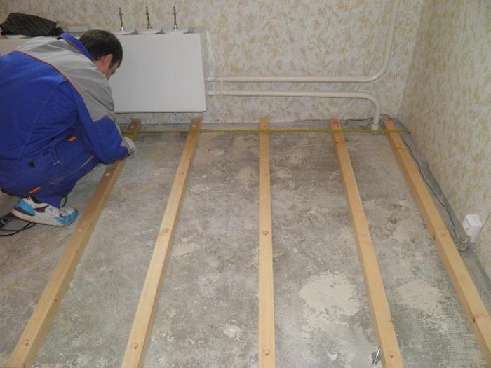 Установка лаг на бетон